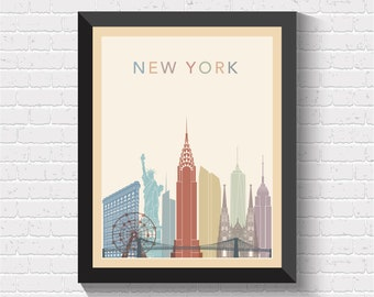 New York Skyline, New York Print, New York Poster, New York Art, New York Wall Art, New York Decor, New York Cityscape, New York, US, USA