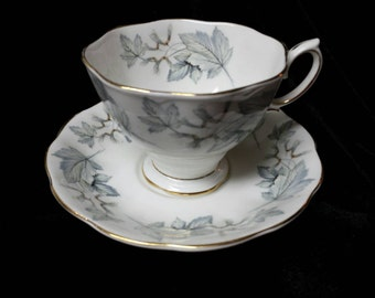 """Royal Albert """"Silver Maple"""" Fine \bone China Cup andSaucers"""