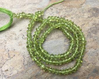 Peridot Rondelles, Peridot Beads, Green Gemstone Beads, 4mm, 13 inch strand
