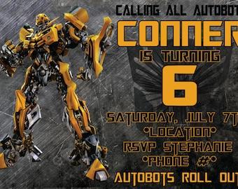 Robot Kids Birthday Invitation
