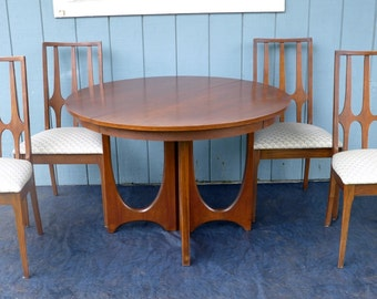 Reserved for Omer: Broyhill Brasilia Dining Set Round Pedestal Table with 3 Leaves 4 Dining Chairs Walnut Mid Century Modern Wood Dining