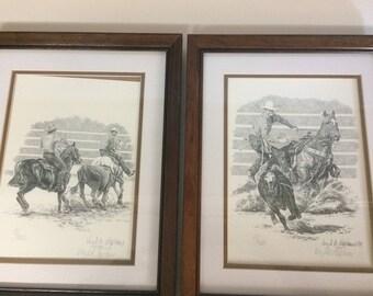 Pair of Virgil C. Stephens Western Pencil Drawings