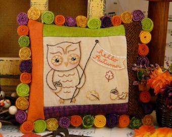 Hello Autumn OWL embroidery PDF Pattern - banner