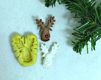 Rudolph Reindeer silicone mold, Christmas molds, Silicone mold,push mold, food supplies mold, clay supplies molds, # 23 s