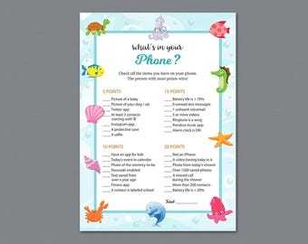 Baby Shower What's In Your Phone Game Printable, What's on Your Phone, Under the Sea, Underwater, Ocean, Cell Phone Game Download, B006