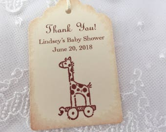 Personalized Baby Shower Tags Thank You Favor Tags Giraffe Tags Set of 10