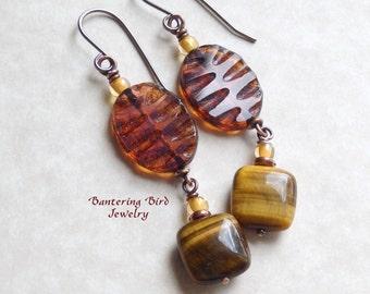 Tiger's Eye Earrings, Brown Gemstone, Czech Glass Leaf Dangle, Copper Jewelry, Unique Gift for Woman