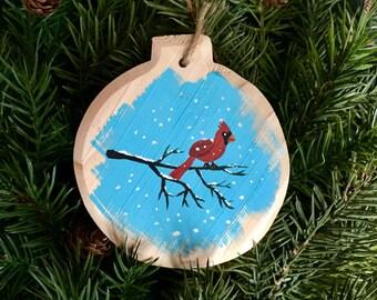 Cardinal Christmas Ornament, Cardinal Painting, Christmas gift, Teacher gift, Handmade Ornament, Stocking stuffer, Gift Topper, Unique gift