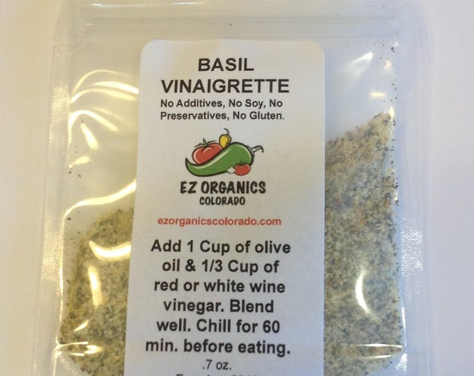 Basil Vinaigrette. dry package mix Organic, sugar-free. Salad Dressing no sulfites no soy no gluten