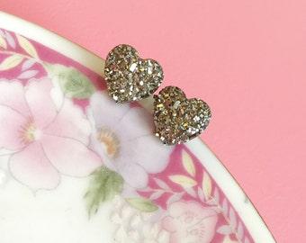 Faux Druzy Heart Earrings, Sparkly Metallic Earrings, Silver Heart Earrings, Rock Star Jewelry, Stainless Steel, Valentine's Day (SE10)