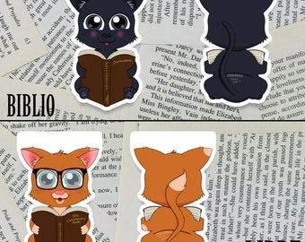 Hello Litty Bookmarks | Bookish Kitten Magnetic Bookmarks | Cat Bookmark | Cute | Kawaii | Kitty | Cat lover | Book Lover | Customizable