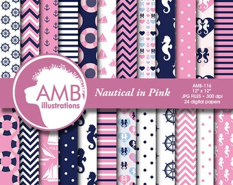 Nautical papers,  Nautical digital papers, Nautical girls, Coastal papers in pink, Nautical scrapbook papers, commercial use, AMB-116