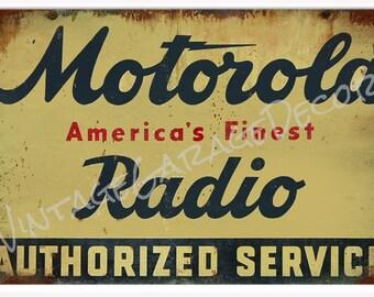 Vintage Style Motorola Radio - Authorized Service Metal Sign (Rusted)