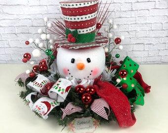 Light up Snowman Centerpiece, Christmas Centerpiece, Red Top Hat Snowman Centerpiece, Raz Christmas Centerpiece, Snowman Table Decor