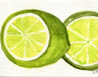 ACEO original Limes Watercolor Painting  Original, Lime Art Card, watercolor ACEO, Citrus Art, small culinary Wall Art, miniature painting