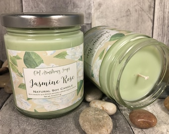 JASMINE ROSE SCENTED-Hand Poured 100% Natural Soy Vegan Candles-8 oz.-Eco Friendly-No Zinc Wick-Clean Burning-40+ Hours of Burning Time