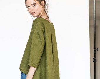 Linen cropped top LEAF / Washed linen cropped front top / available in 34 colors