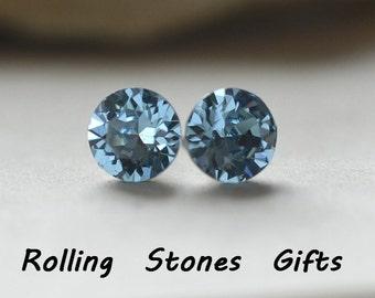 7.27mm studs, Aquamarine Studs, Xirius Stud Earrings, Crystal Stud Earrings, Aqua Crystal Earrings, Swarovski