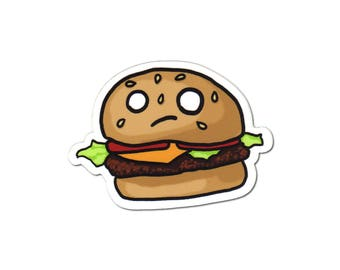 Cheeseburger Sticker, Laptop Sticker, Car Sticker, Bumper Sticker, Vinyl Sticker, Cute Food, Funny Food, Cute Burger, Skateboard Sticker