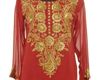 Designs Women's Plus Size Red   Georgette  Shirt/Blouse