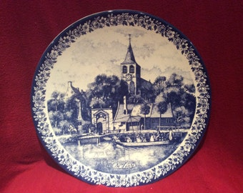 Delfts Blauw Chemkefa Church and Boat Scene Wall Plate appx 29cm diameter