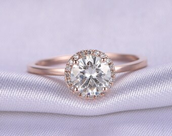 1ct Round Forever Brilliant Moissanite Engagement Ring Solid 14k Rose Plain Gold Wedding Band Halo Diamond Forever One Available