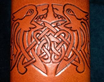 Celtic Leather Whiskey Flask Zoomorphic Pattern with Two Intertwined Dogs