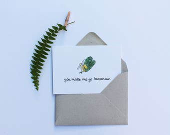 You make me go bananas | Mini Message Card | Just Because Card | Thank you Card | Love Card | Greeting card