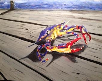 Crab art print, Seafood art, Cajun kitchen, New Orleans art, Louisiana art, Cajun decor, Man cave decor, Acadiana art, Home decor, Beach