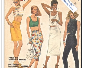 """McCALL'S Pattern 2458 - Misses' """"Shari Belafonte-Harper"""" Casual Coordinates/Separates • Midriff Tops, Pull-on Skirt and Pants - Sz 10 B32"""