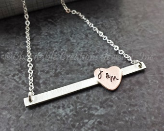 Personalized Skinny Bar and Heart  Necklace - Mixed Metal Necklace - Sterling Silver Bar with Personalized Copper Heart