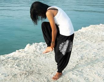 Women Yoga Harem Pants Drop Crotch Aladdin Pants Maxi  Baggy Pants Genie Mandala Hand Screen Printed 100% Cotton Tshirt fabric