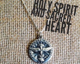 Sterling Silver Holy Spirit and Sacred Heart Necklace, Catholic Jewelry, Christian Jewelry