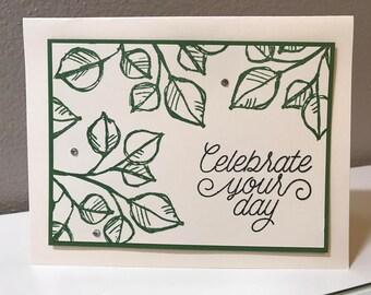 Birthday Handmade Stampin' Up! Card, Leaves