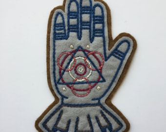 Hand Embroidered Patch. Magic Hand, Wool Acrylic Polyester Blend Felt Sew On Patch. Badge, Symbolism, Masonic. Made to Order- 3 5/8 x 5 7/8