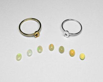 Choice of Australian or Ethiopian Opal Bezel Ring in Silver or Gold, 6 x 4 mm