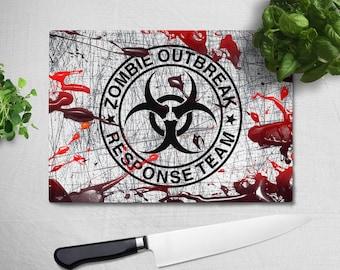Zombie Outbreak Response Team Blood Splatter Chopping Board