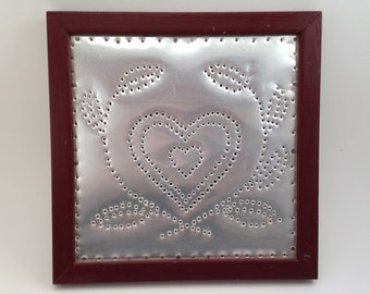 Primitive Folk Art Framed Aluminum Punched Heart