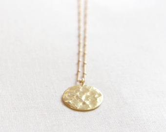 Long Gold Necklace | Hammered Coin Necklace | Long Hammered Coin Necklace