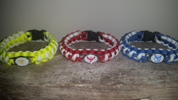 Pokemon Go Team Paracord Bracelet Red Valor Blue Mystic Instinct Yellow