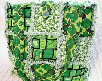 On Sale St. Patricks Rag Quilt Tote - Irish Tote - Green Rag Tote - Shamrocks - Clover - Handmade Bag