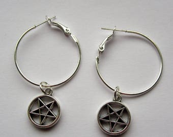 Pentagram Hoop Earrings, Silver Tone, Satanism, Witchcraft