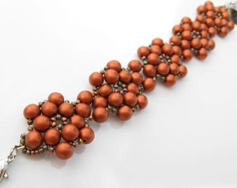 Beadweaved Flower Beacelet, Beaded Copper Bracelet, Beadwoven Bracelet, Metallic Copper Flower Brcelet, Artisian Jewelry, Unique Jewelry