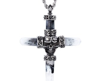 Beautiful PENDANT made from stainless cross skull 88 x 66 mm