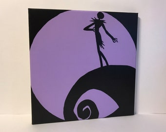 """Clearance - """"Jack's Lament"""" - Painted Canvas Inspired by Tim Burton's The Nightmare before Christmas"""