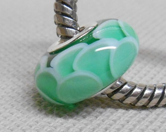 Transparent Green Scales Bead, Handmade Lampwork Bead, Silver Cored European Charm Bead