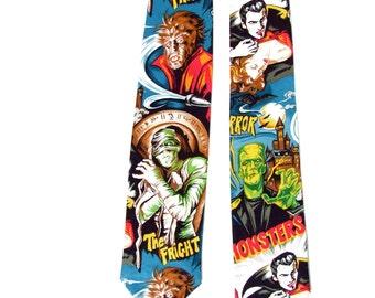 Hollywood Monster Vintage Horror Movie Pinup Frankenstein Mummy Necktie, Mens tie
