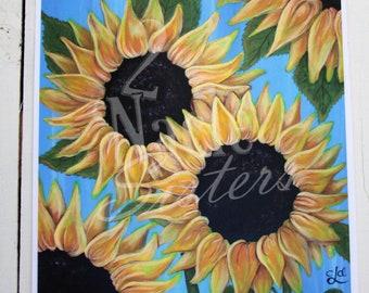 Sunflowers Art Print, Sunflowers Art Printable, Original Sunflowers Painting, Sunflower