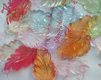 SALE Colorful Transparent plastic leaf charms 10pcs Assorted colors 5 pairs