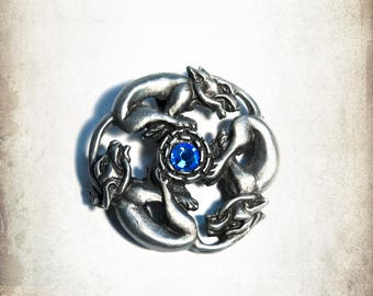 Medieval celtic dogs brooch jewelry - Handmade pewter jewelry for LARP